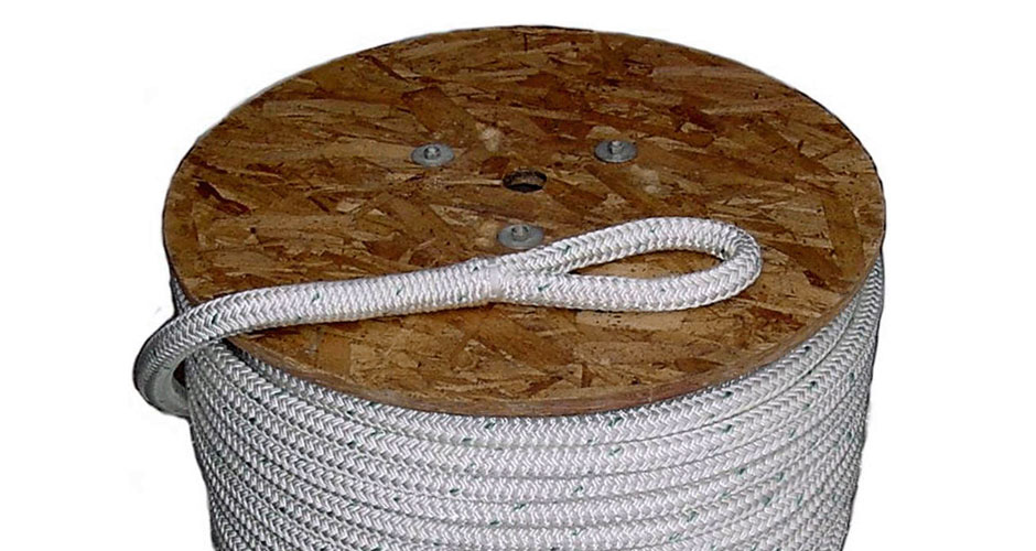 """1//4/"""" x 600/' Double Braid cable pulling rope w// 6/"""" eyes on each end"""